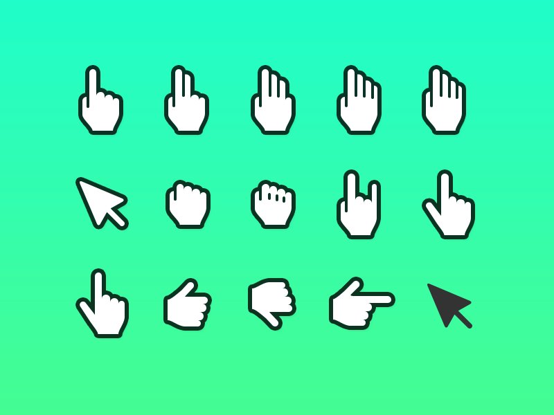 Hand pointer icons